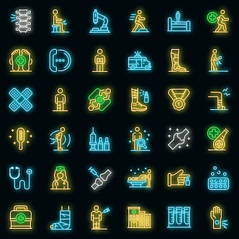 Sports doctor icons set. outline set of sports doctor vector icons neon color on black