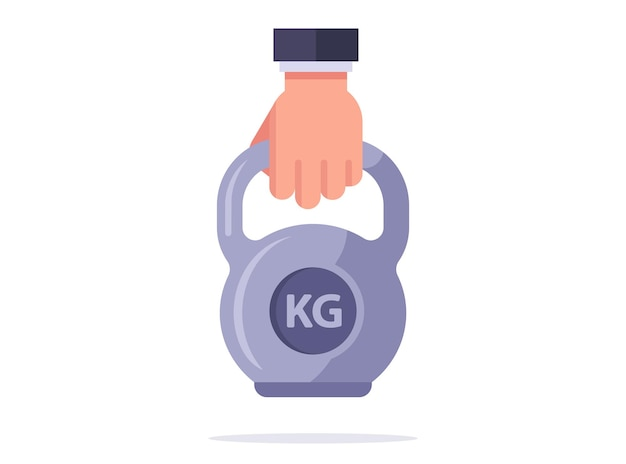 Sports dumbbell with handle. volumetric and flat version. vector illustration on a white background.