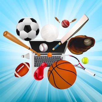 온라인 스포츠의 상징으로 스포츠 장비