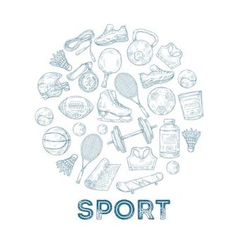 스포츠 장비 배경. 원형 구성에서 메달, 농구 및 럭비 공, 스케이트 및 축구 헬멧을 스케치하십시오.
