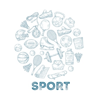 Sports equipment background. sketch medal, basketball and rugby ball, skate and football helmet in circle composition