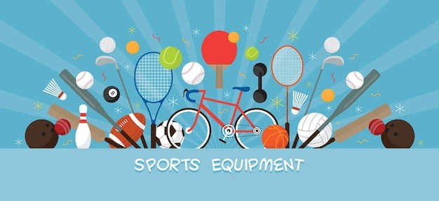 Sports equipment, flat objects display banner