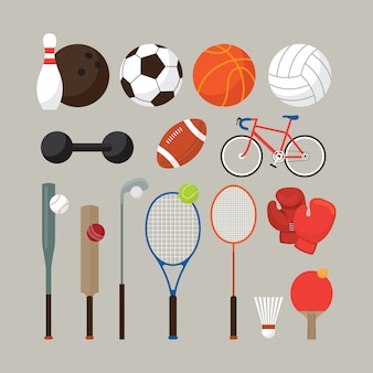 Sports equipment, flat objects set