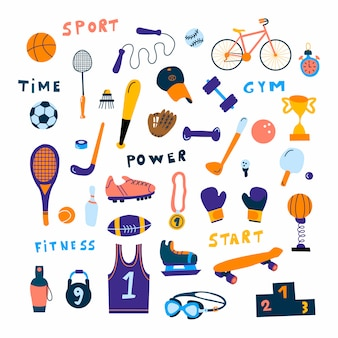Sports equipment icon set