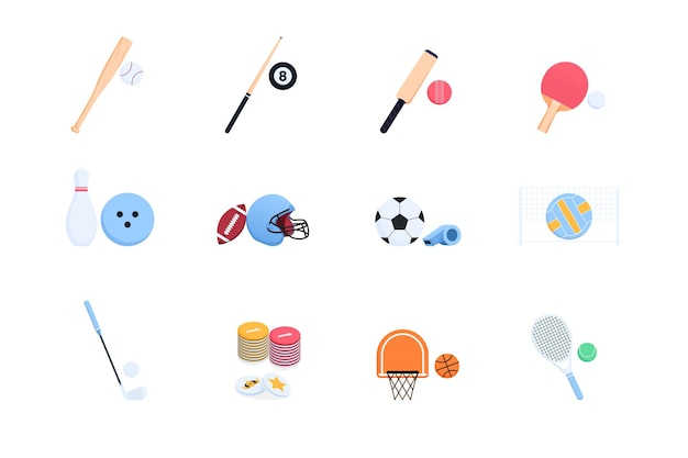 Sports equipment icons in a set