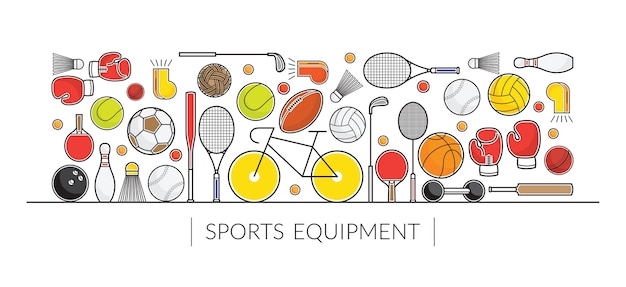 Sports equipment, line objects display banner