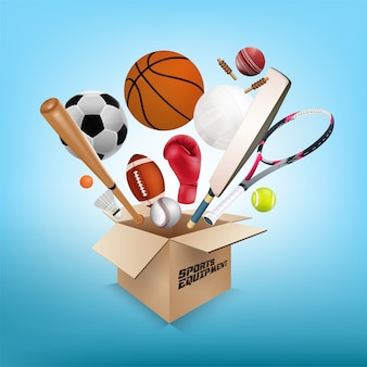 Sports equipment out of box on blue background
