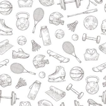 スポーツ用品のシームレスなパターン。バスケットボールと野球のボール、シャトルコックとフットボールのヘルメット、テニスラケットとバットのベクトルテクスチャ。バスケットボールとサッカーのスポーツ、サッカーと野球のイラスト