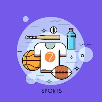 Спортивная экипировка тонкая линия иллюстрации