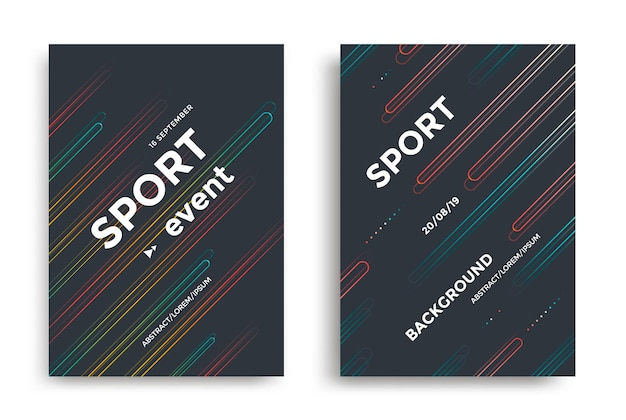スポーツイベントのポスターレイアウトデザインテンプレート色付きの斜めの線と暗い背景のモダンなカバー