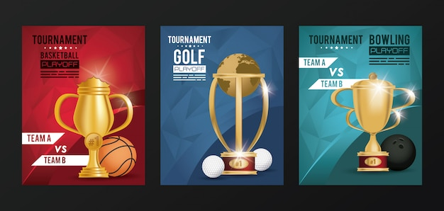 Sports events trophy awards posters