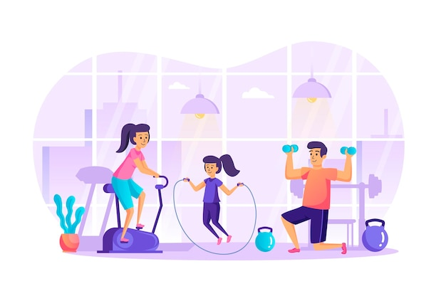 Sports family doing fitness in gym flat design concept with people characters scene