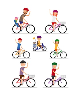 Sports family. mom, dad and kids ride bikes. daughter and son, grandmother and grandfather, vector illustration