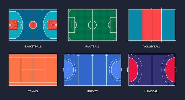 Sports fields football basketball tennis volleyball handball hockey