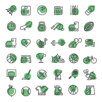 Sports and fitness outline symbols sports equipment thin line  icons
