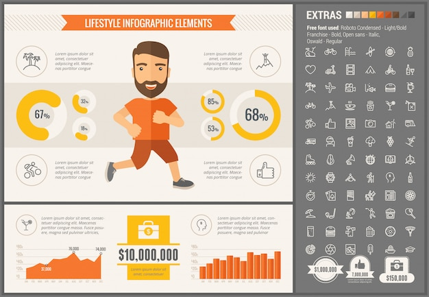 Sports flat design infographic template and icons set