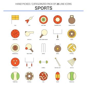 Sports flat line icon set