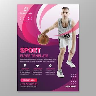 Modello di volantino sportivo con foto