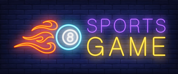 Sports game neon text and ball with fire