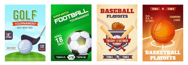 Sports game tournament poster basketball announcement flyer golf football baseball ad poster
