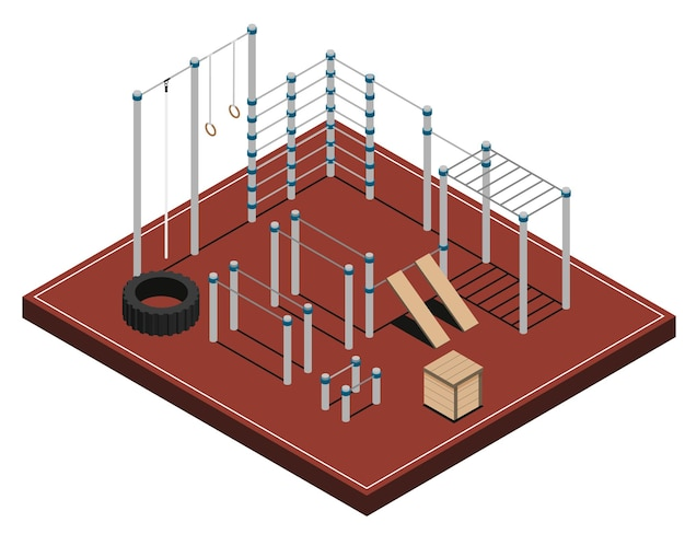 Sports ground with metal wooden and rubber workout equipment on brown covering isometric