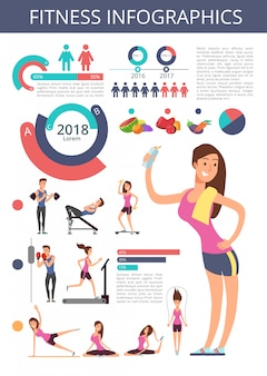 Sports and healthy life vector business infographic with sport person characters, charts and diagrams