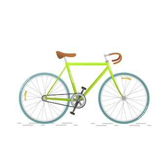 Спортивный шоссейный велосипед. плоский велосипед, изолированные на белом фоне. здоровый образ жизни и городской автомобиль.