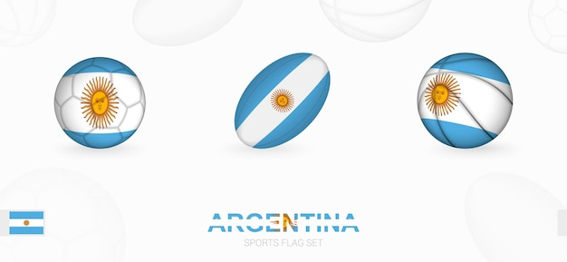 Sports icons for football rugby and basketball with the flag of argentina