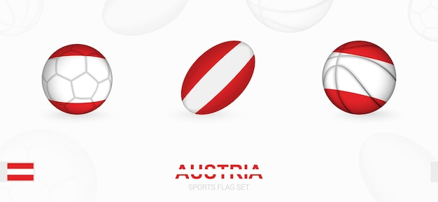 Sports icons for football, rugby and basketball with the flag of austria.