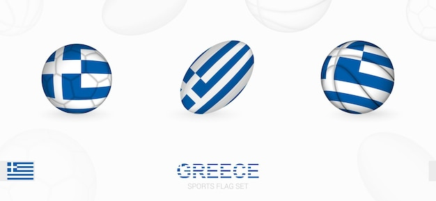 Sports icons for football, rugby and basketball with the flag of greece.