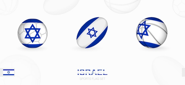 Sports icons for football, rugby and basketball with the flag of israel.