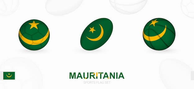 Sports icons for football, rugby and basketball with the flag of mauritania.
