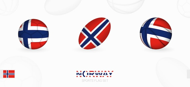 Sports icons for football, rugby and basketball with the flag of norway.