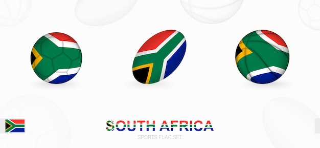 Sports icons for football, rugby and basketball with the flag of south africa.