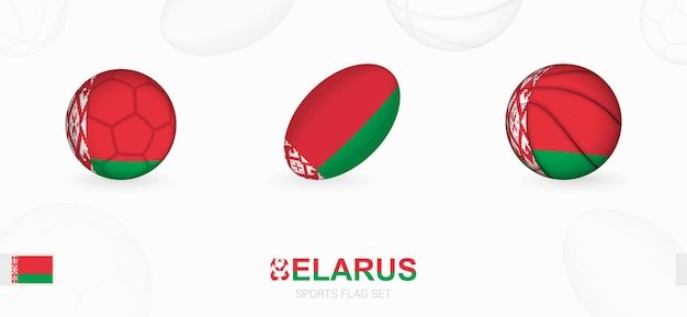 벨로루시 국기와 함께 축구, 럭비, 농구를 위한 스포츠 아이콘.