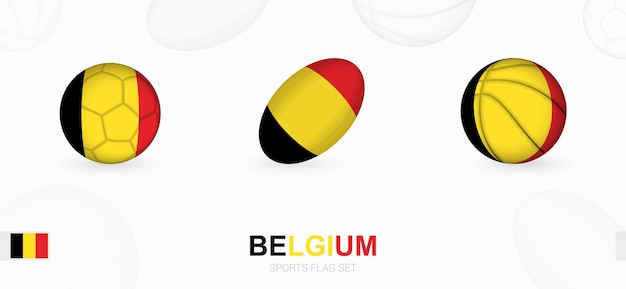 ベルギーの旗を掲げたサッカー、ラグビー、バスケットボールのスポーツアイコン。