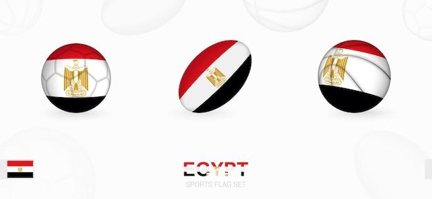 Спортивные иконки для футбола, регби и баскетбола с флагом египта.