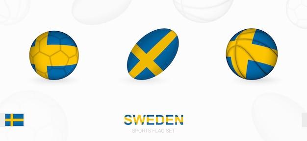 스웨덴 국기가 달린 축구, 럭비, 농구를 위한 스포츠 아이콘.
