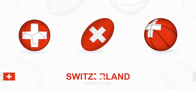 スイスの旗を掲げたサッカー、ラグビー、バスケットボールのスポーツアイコン。