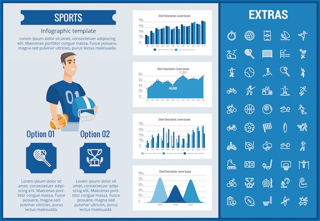 Sports infographic template, elements and icons.