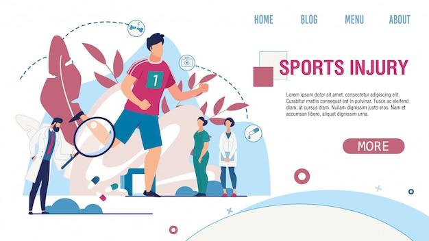 Sports injury treatment service flat landing page