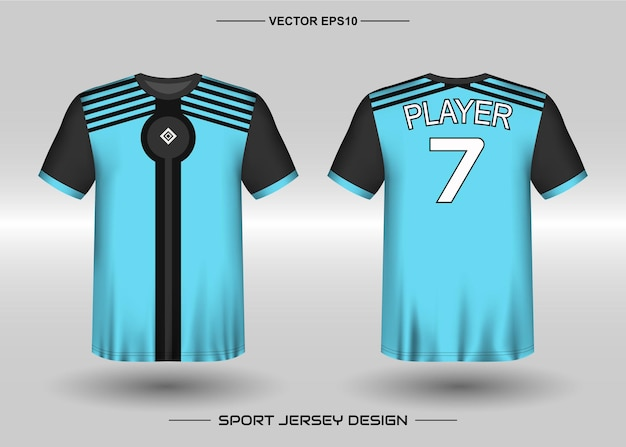 Sports jersey design template for soccer team with black and blue color