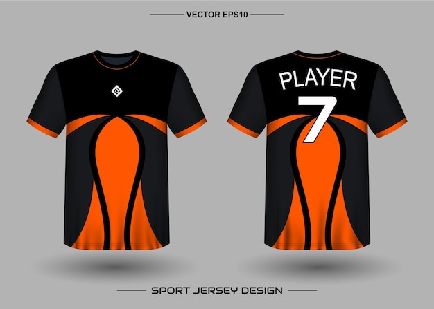 Sports jersey design template for soccer team with black and orange color