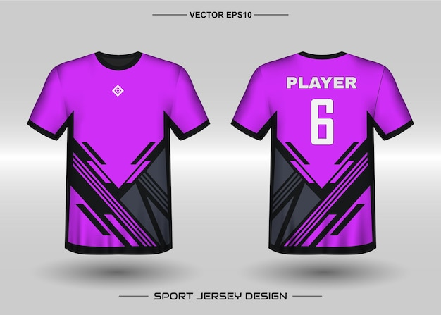 Sports jersey design template for soccer team with black and purple color