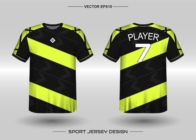 Sports jersey design template for soccer team with black and yellow color