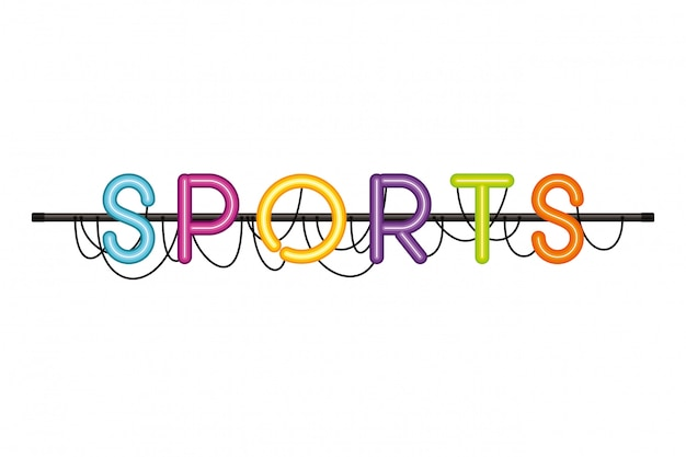 Sports label in neon light isolated icon