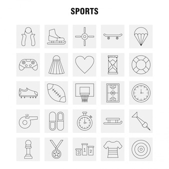 Sports line icon set