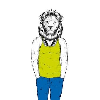 Спортивный лев в майке