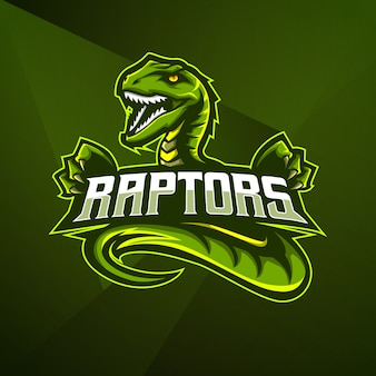 Sports mascot logo design vector template esport cobra raptor dino dinosaurs