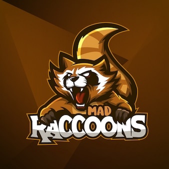 Sports mascot logo design  vector template esport raccoon mad animal angry
